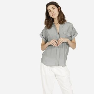Everlane Habotai Rolled Sleeve Button Front Blouse